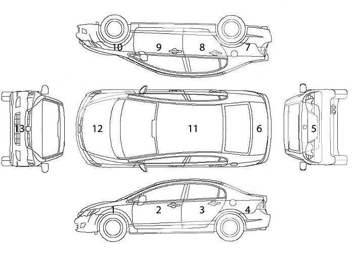 Схема элементов кузова автомобиля